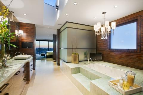 Modern Bathroom with dark wood accent wall covering