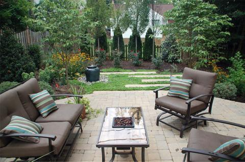 Contemporary Patio with black metal patio furniture