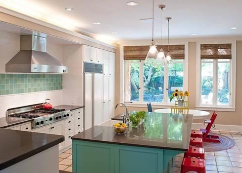 Eclectic Kitchen with custom white cabinets