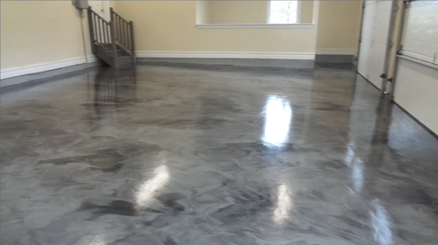 Contemporary Garage With Gray Swirl Epoxy Flooring