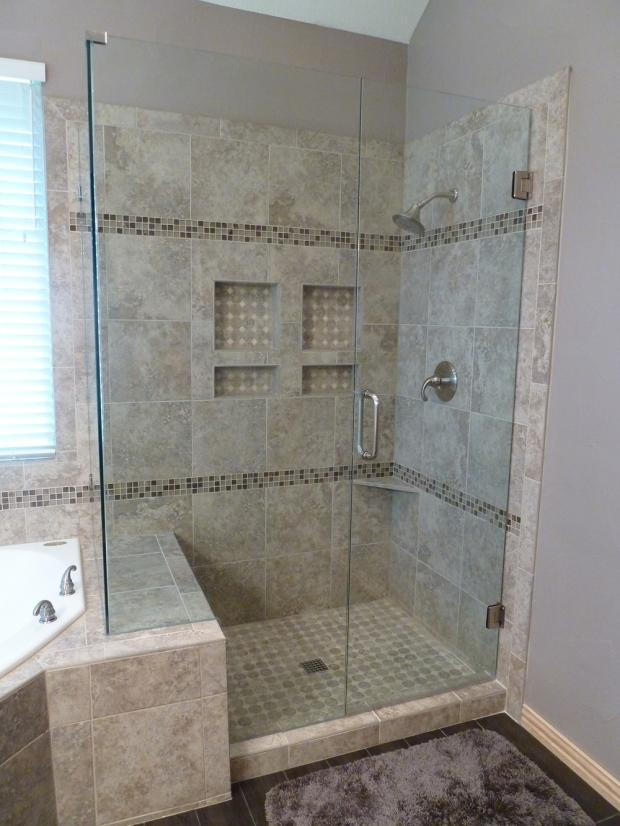 contemporary bathroom  dallas detailed tile shower layout idea  sardone construction
