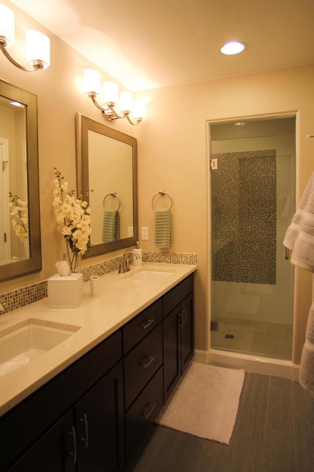 Transitional bathroom in littleton beige quartz for Bathroom remodel 80122