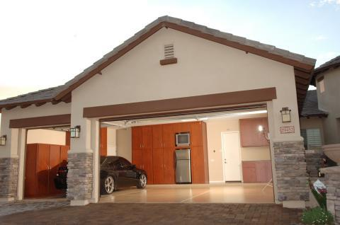 Traditional Garage with mission style sconce lights