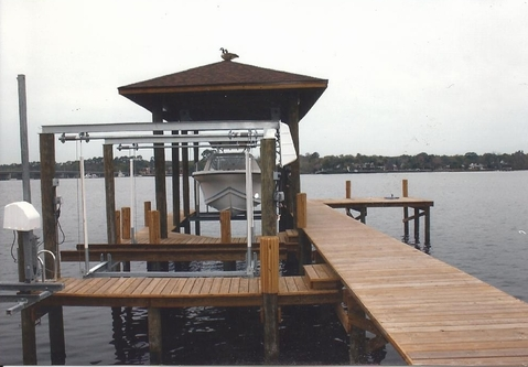 Modern Landscape with boat lift mechanism