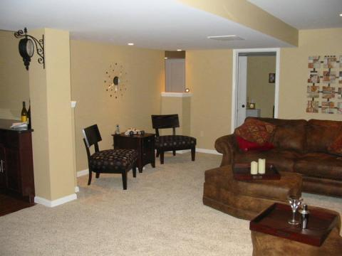 Traditional Basement with dark brown leather ottoman