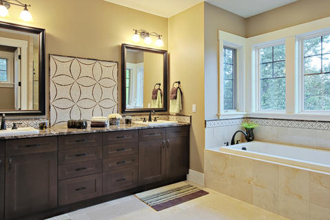 Transitional Bathroom with oil rubbed bronze plumbing fixtures