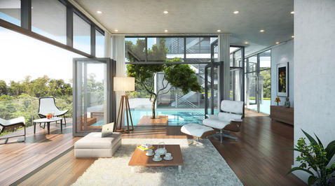 Add To Modern Family Room With Modern Style Family Room With Opening To  Outdoor Patio