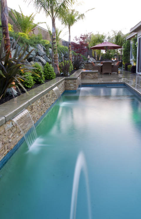 Transitional Pool with water features from the wall into the pool