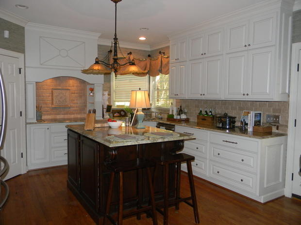 Transitional Kitchen In Greenville White Trim Tile Backsplash By From Tree To You Custom