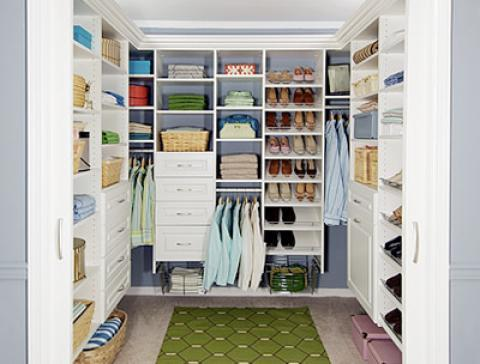 Transitional Closet with custom closet organizational storage units