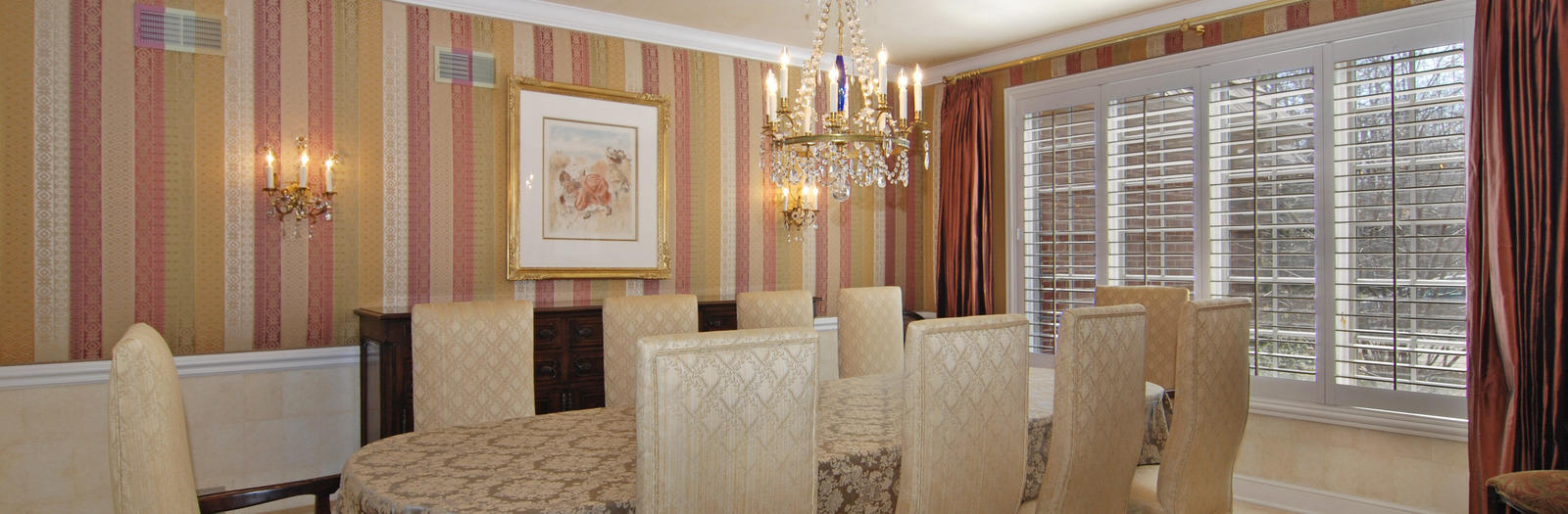 Victorian Dining Room with victorian style dining room with wallpaper and drapery