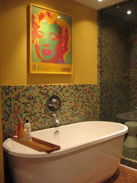 Eclectic Bathroom with small colorful tile shower stall wall covering