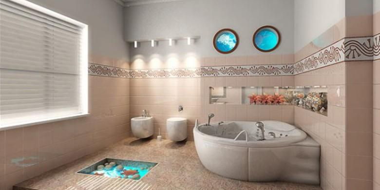 Modern Bathroom with white ceramic wall mount toilet and bidet