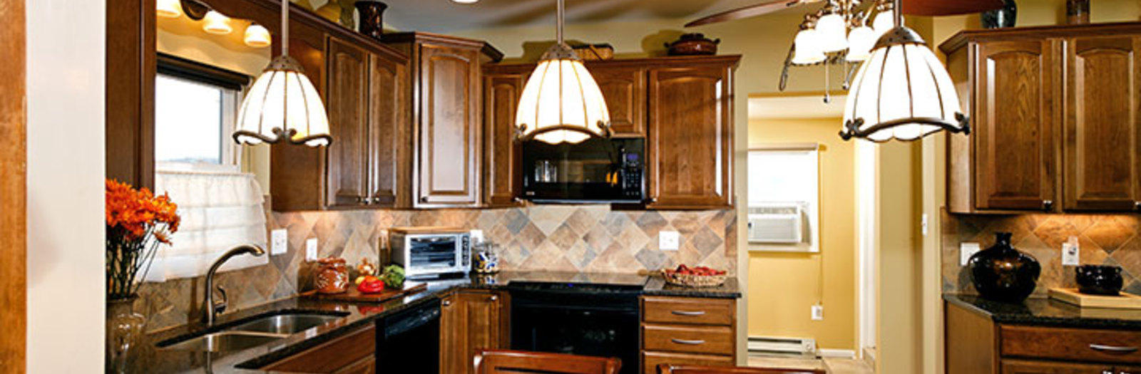 Traditional Kitchen with double bowl under mount stainless steel sink