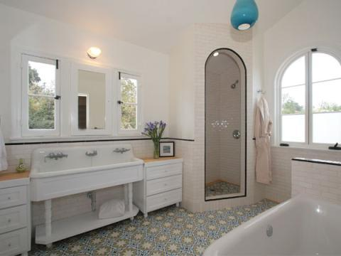 Eclectic Bathroom with blue pendant lighting