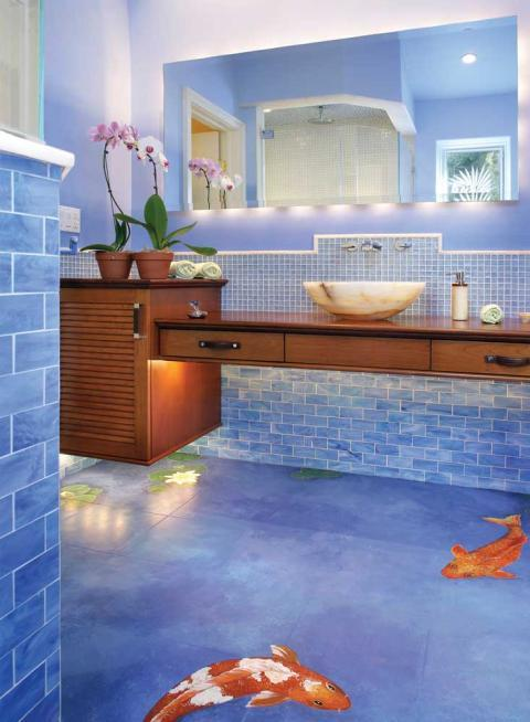 Eclectic Bathroom with floor has mural of coy pond painted on it