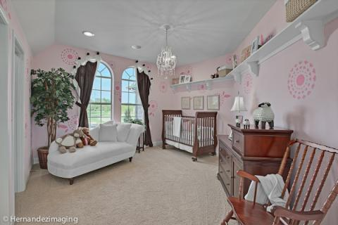 Traditional Kids Room with custom window treatment