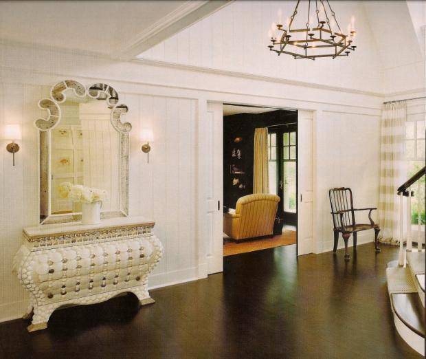 French Country Hallway In La Jolla Dark Hardwood White
