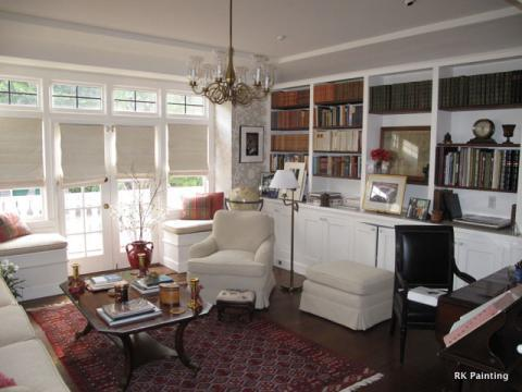 Traditional Library with white upholstered ottoman