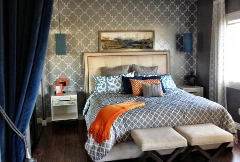 Add To Transitional Bedroom With Grey And White Wallpaper