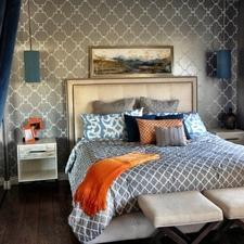 Transitional Bedroom with grey and white wallpaper