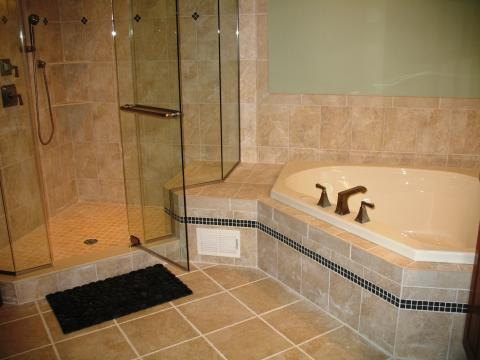 Transitional Bathroom with clear glass shower door