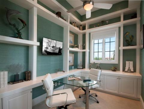 Transitional Home Office with white leather rolling office chairs