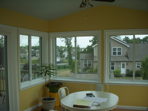 Transitional Sunroom with white trimmed window