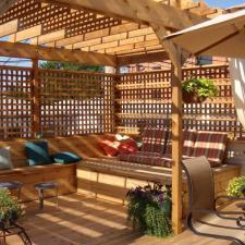 Traditional Patio with shaded outdoor sitting area