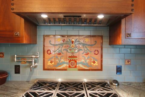 Arts & Crafts Kitchen with marbled granite countertops