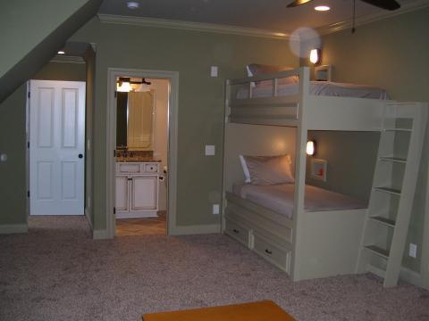 Traditional Kids Room with soft green painted room