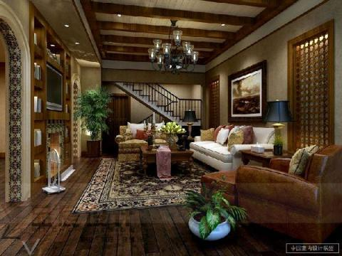 Traditional Family Room with dark wood built-in entertainment center
