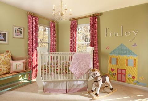Transitional Kids Room with white and red geometric pattern
