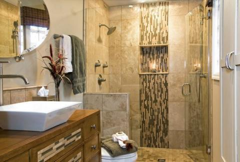 Contemporary Bathroom with matching tile in shower and vanity