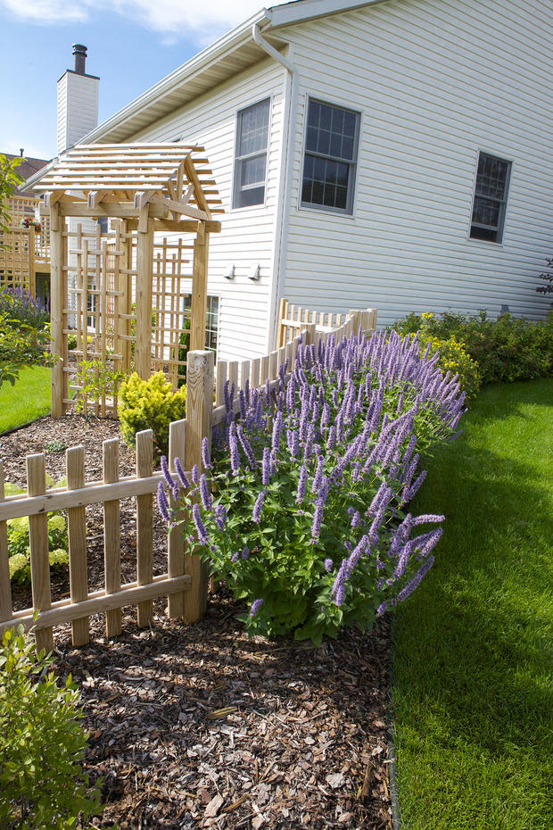 Garden garden in cottage grove trellis arbor wood for Leslie pool garden grove