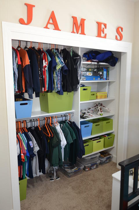 Contemporary Closet with wall mounted closet system