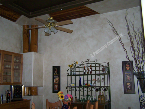 Lodge Kitchen with ceiling fan with light