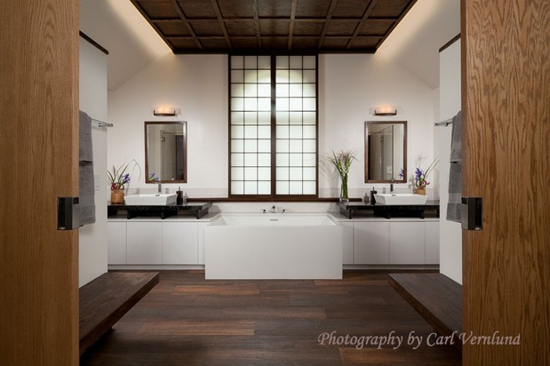 Asian Bathroom In Norwalk Stained Wood Ceiling Wall Mounted Bench Seats By Remodeling Options