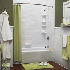 Transitional Bathroom with rounded shower curtain pole