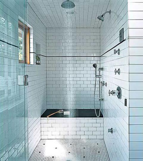 Contemporary Bathroom with white brick style tile wall covering