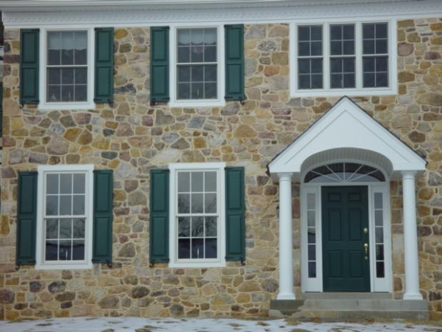 Colonial Home Exterior In Pottstown Uncut Stone Siding Earthy