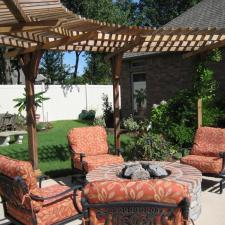 Traditional Patio with tall white wood privacy fence