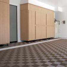 Contemporary Garage with brown and tan tile garage flooring