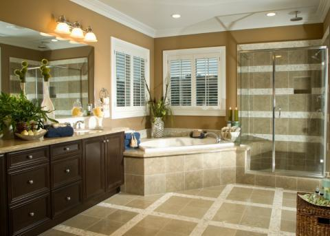 Traditional Bathroom with tan and white tile shower wall covering