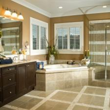 Transitional Bathroom with tan and white tile shower wall covering
