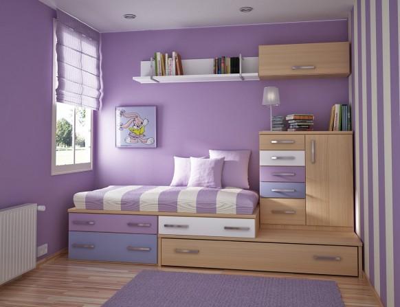 Modern Kids Room With Dresser Drawers Built Into Bed Frame