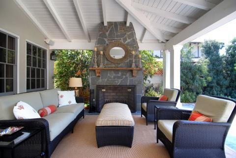 Transitional Patio with black wicker outdoor patio furniture