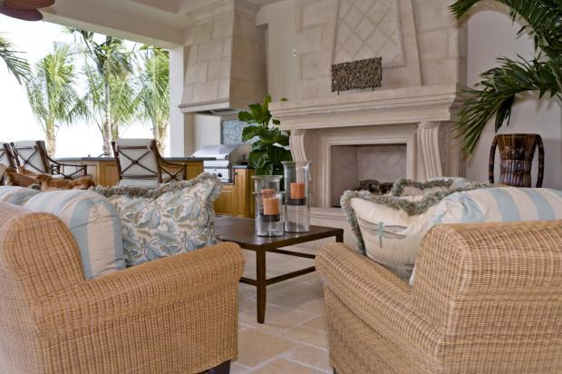 Transitional Patio with light tan wicker patio furniture