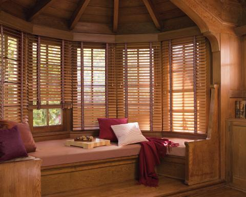Traditional Family Room with hunter douglas country woods