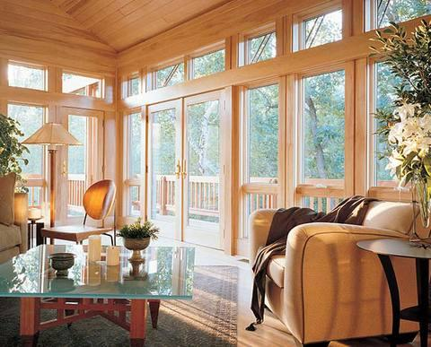Transitional Sunroom with tongue and groove board ceiling